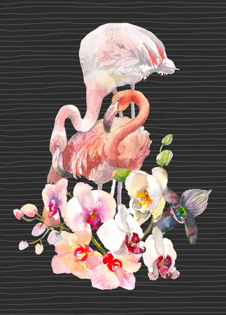 Hand drawn watercolor illustration of tender orchids branch border and two flamingo on black background with lines. Tropical illustration for party invitation design, banner, tshirt print Stock Photo