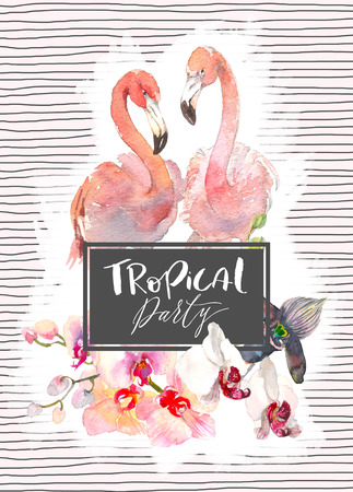 Hand drawn watercolor illustration of tender orchids branch and two flamingo on pink background with lines. Tropical illustration for party invitation design, banner, print