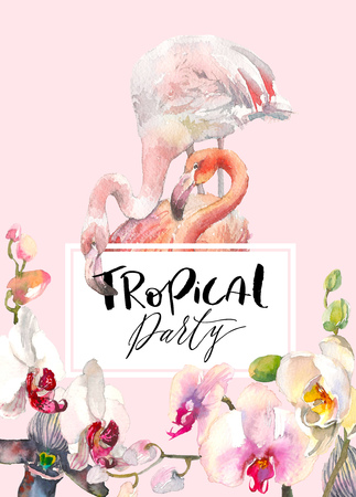 Hand drawn watercolor illustration of tender orchids branch border and two flamingo on pink background. Tropical illustration for party invitation design, banner, print