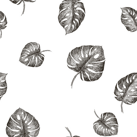 Seamless hand drawn tropic exotic botanical vector pattern texture with jungle tree palm leaves. Black and white illustration.