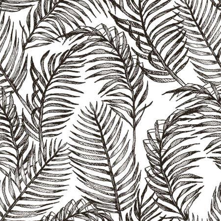 Struttura del modello di vettore botanico esotico tropicale disegnato a mano senza cuciture con le foglie di palma dell'albero della giungla della foresta pluviale. Illustrazione in bianco e nero.