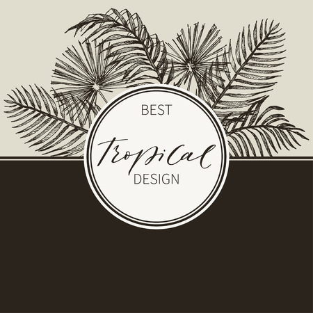 Tropical vintage Hawaiian flyer with palm leaves and exotic flowers. Round frame. Vector illustration.