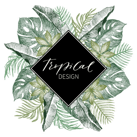 Tropical vintage Hawaiian flyer with palm leaves and exotic flowers. Rhombus frame. Vector illustration. Illustration