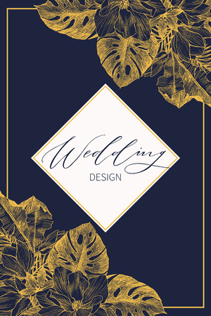 Wedding Invitation, floral invite card Design with tropical forest palm tree leaves, forest fern greenery simple, geometric golden border print. Vector cute garden greeting, copy space  イラスト・ベクター素材