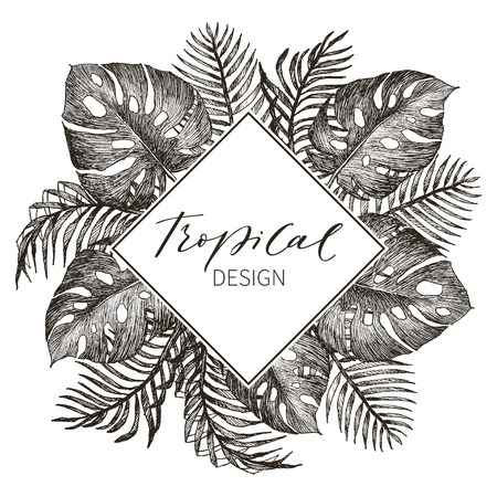 Tropical vintage Hawaiian flyer with palm leaves and exotic flowers. Rhombus frame. Vector illustration. Stock Illustratie