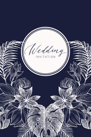 Wedding Invitation, floral invite card Design with tropical forest palm tree leaves, forest fern greenery simple. Vector cute garden greeting, copy space