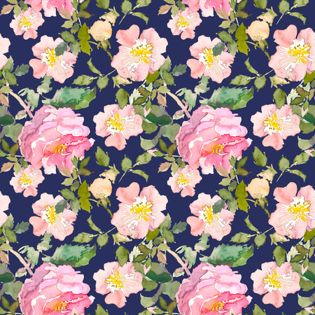 Seamless pattern of summer garden yellow and pink rose flower. Watercolor floral illustration on dark blue background. Botanical decorative element. Flower concept. Botanica concept. Stock Photo