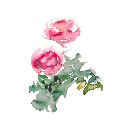 Bouquet with pink roses and green leaves on the white background. Watercolor romantic garden flowers sketch. Card template with message Summer. Standard-Bild - 114552205