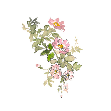 Watercolor element of pink roses and green leaves on the white background. Watercolor romantic garden flowers sketch. Card template with message Summer. Stock Photo