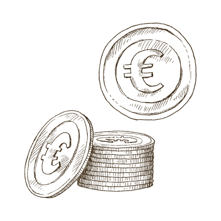 Euro sign, coin isolated on white background. Sketch of money, currency icon. Cash symbol