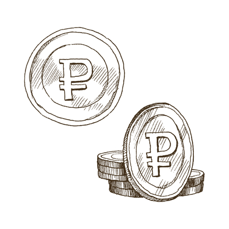 Ruble sign, coin isolated on white background. Sketch of money, currency icon. Cash symbol Vector Illustration