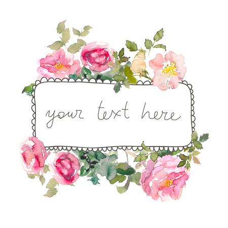 Marco de acuarela con rosas, se puede utilizar como tarjeta de invitación para bodas, cumpleaños y otros antecedentes de vacaciones y verano. Ilustración dibujada a mano. Lugar para el texto Foto de archivo