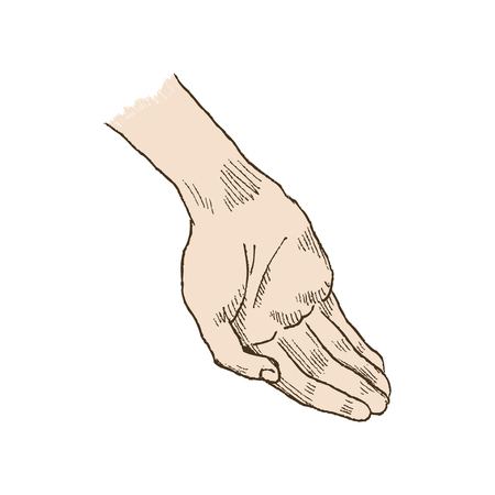 Hand asking posture. One hand on top of other pop-art vector. Church, hands, blessing, hand with folded palm up. Vector illustration