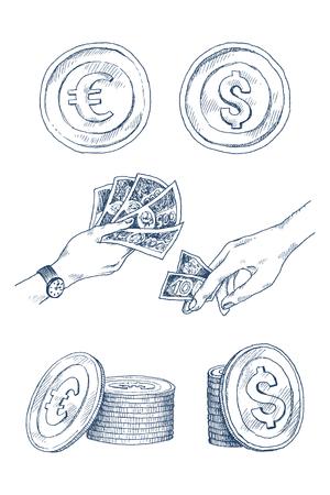 Dólar, moneda de euro dinero aislado sobre fondo blanco. Conjunto de dinero, icono de moneda. Símbolo de efectivo