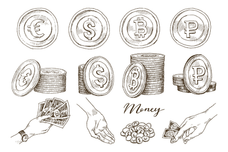 Dollar, euro, ruble, bitcoin sign, coin isolated on white background. Set of money, currency icon. Cash symbol