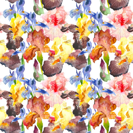 Seamless pattern of watercolor iris flower. Hand drawn illustration in sketch style with burgundi, yellow and blue iris for greeting cards, invitations, and other printing projects.