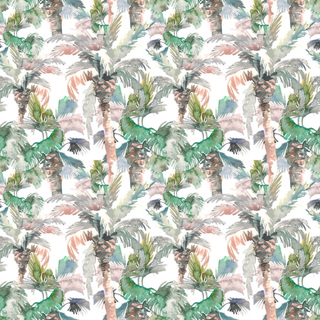 Watercolor seamless pattern of palms, hand drawn illustration for your design. Isolated on white background 스톡 콘텐츠