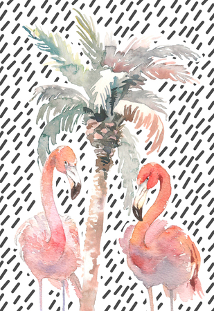 Watercolor palm with two flamingo on abstract background, Hand drawn illustration for your design. For print, kids invitation, cloth or other ideas