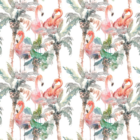 Watercolor seamless pattern of palm with flamingo on white background, Hand drawn illustration for your design. For print, kids invitation, cloth or other ideas 写真素材
