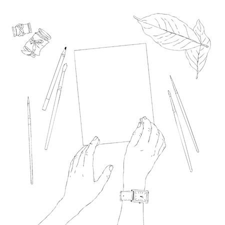 Hand drawn hands holding pen. Template for your design works. Line art style vector illustrations. Vektorové ilustrace