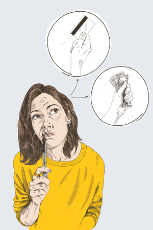 Schizzo a mano colorata di una donna che pensa con la penna. Illustrazione vettoriale