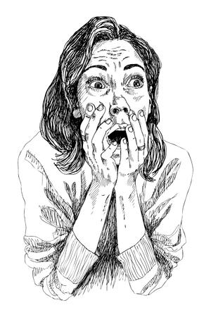 Donna con espressione faccia spaventata, espressione di giovane donna con le mani sulla bocca aperta. Illustrazione vettoriale. Vettoriali