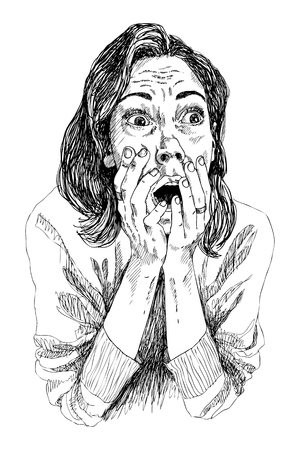 Woman with scared face expression, Young woman expression with her hands on the open mouth. Vector illustration. Иллюстрация