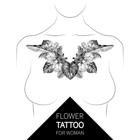 Vintage tropical floral ornament. Engraved retro flower decorative design. Beautiful botanical decorative element for elegant woman tattoo
