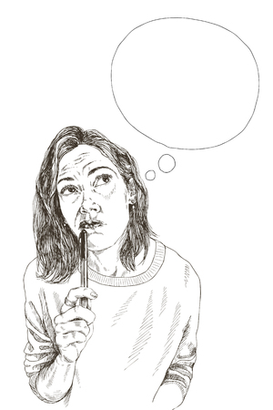 Pretty girl thinking with pen in hand. High detailed Vector illustration.