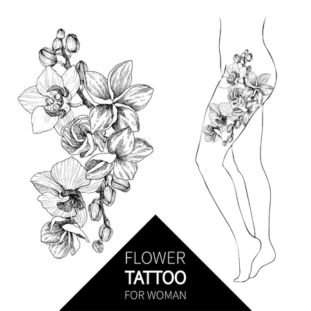 Hand drawn black outline bouquet with orchid and plumeria on a white background isolated. Highly detailed vector illustration. Beautiful exotic flower. Elegant woman tattoo Archivio Fotografico - 114552290