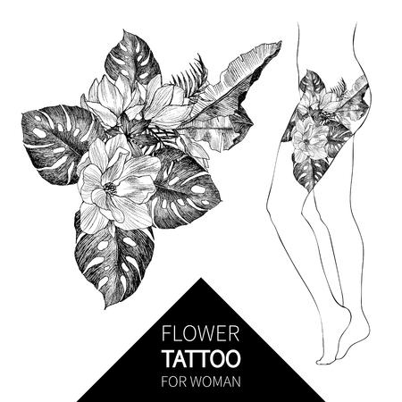 Blackwork tattoo flash. Vector illustration isolated on white. Tattoo design, mystic symbol. New school dotwork. Boho design. Print, posters, tshirts and textiles.