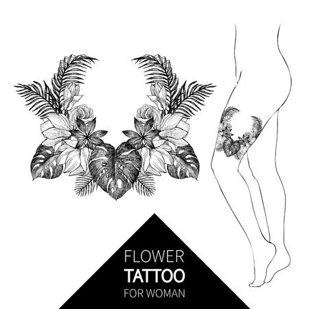Blackwork tattoo flash. Vector illustration isolated on white. Tattoo design, mystic symbol. New school dotwork. Boho design. Print, posters, tshirts and textiles. Stok Fotoğraf - 109950681