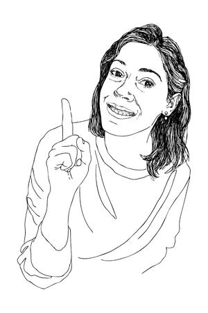 Vector illustration character design happy girl has a good idea. Illustration