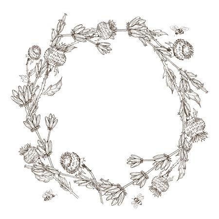 Hand drawn floral frame card. Monochrome illustration. Vintage engraving style