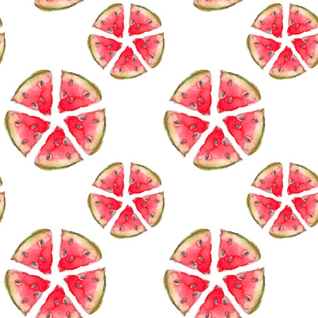 Seamless Tropical Fruits Pattern. Exotic Background with slice of watermelon for wallpaper, wrapping Paper, fabric. Watercolor hand drawing sketch. Top view
