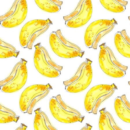 Seamless Tropical Fruits Pattern. Exotic Background with banana for wallpaper, wrapping Paper, fabric. Watercolor hand drawing sketch