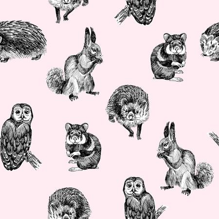 Nahtloses Muster von hochdetaillierten handgezeichneten Eichhörnchen, Eule, Hamster und Igel auf hellrosa Hintergrund. Wald kleine Tiere Vektor-Design