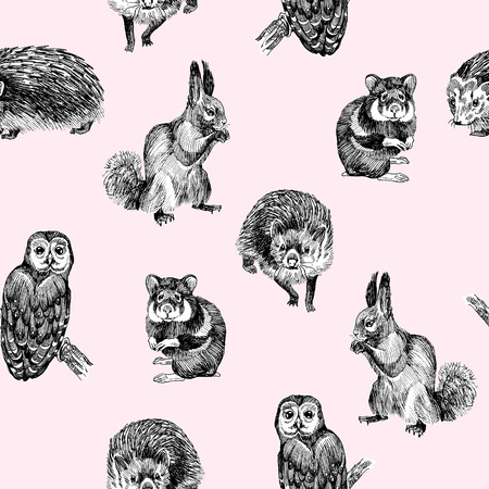Seamless pattern of highly detailed hand drawn squirrel, owl, hamster and hedgehog on light pink background. Forest small animals vector design