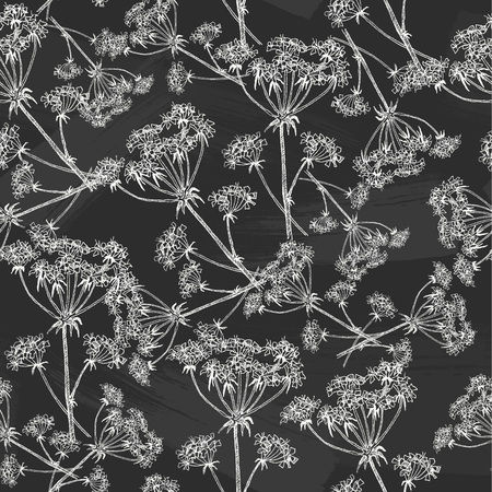 Seamless pattern of highly detailed hand drawn forest field plant on chalkboard background. Vector design