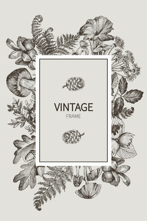 Autumn mood. Vector vintage card. Frame with small wild forest plants and berries. Black and White. Zdjęcie Seryjne - 127732048