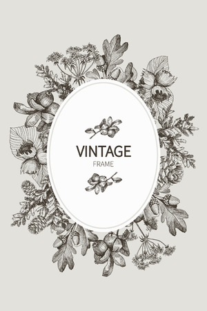 Autumn mood. Vector vintage card. Frame with small wild forest plants and berries. Black and White.