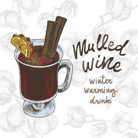 Mulled wine in the glass and Christmas elements, spices and citrus Zdjęcie Seryjne - 127732051