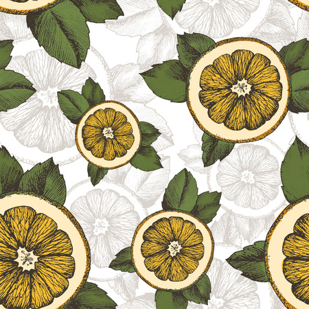 Vector summer pattern with oranges, mint and leaves. Seamless texture design. Illustration