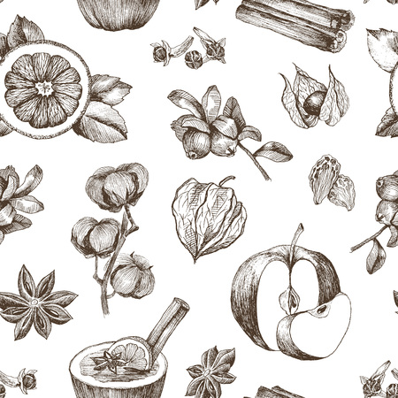 Seamless pattern with spices on white background. Hand drawn spices and herbs made in vector. Cinnamon, pepper, cardamon, ginger, basil leafs and other spices and herbs.