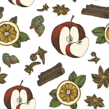 Seamless pattern with spices on white background. Hand drawn spices and herbs made in vector. Cinnamon, pepper, cardamon, ginger, basil leafs and other spices and herbs. Zdjęcie Seryjne - 127638025
