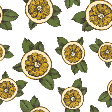 Seamless vector pattern of oranges slices and leaves on a white background Ilustração