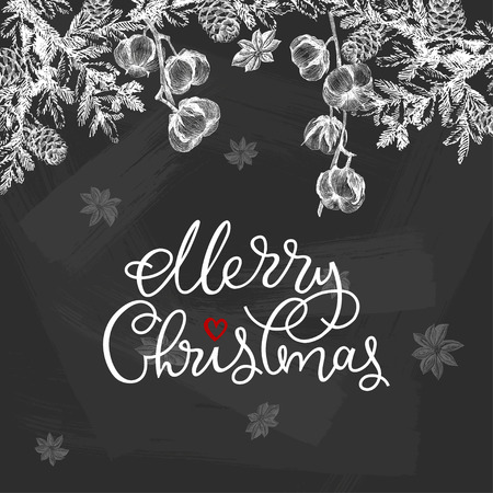 Christmas frame card. Vector hand drawn illustration, Chalkboard xmas decoration element. Greeting and invitation card, holiday banner Zdjęcie Seryjne - 127600540