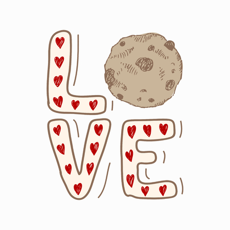 Love. Hand drawn creative sketch isolated on white background. Design for holiday greeting card and invitation wedding, Birthday, Valentine s day and Happy love day. Sweet design with hearts and cookie Stock fotó