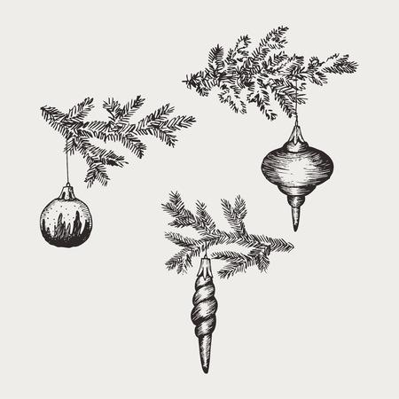 Christmas hand drawn fur tree for xmas design. With balls, toys