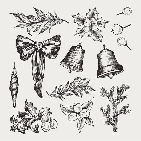 Vecteur défini des icônes dessinées à la main de Noël, des éléments de conception, des objets. Éléments de décor de croquis Vecteurs